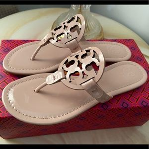 Tory Burch Miller Medallion Patent Leather Sandals